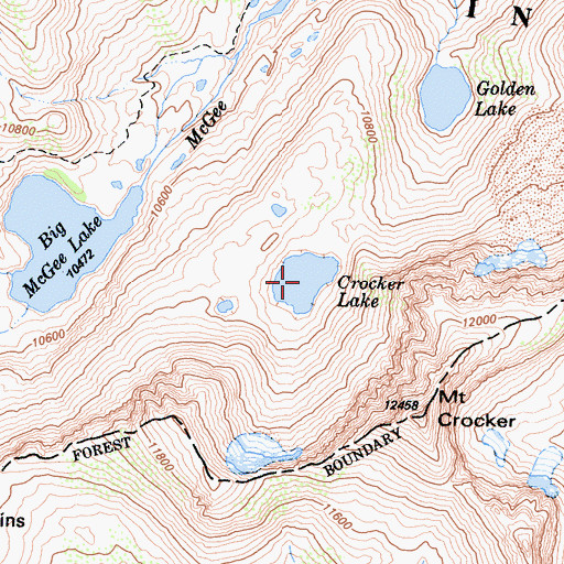 Topographic Map of Crocker Lake, CA