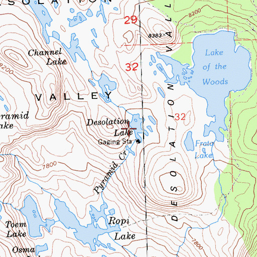 Topographic Map of Desolation Lake, CA