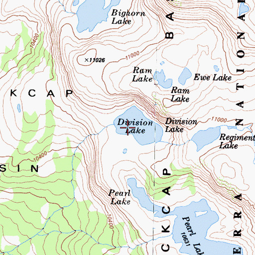 Topographic Map of Division Lake, CA