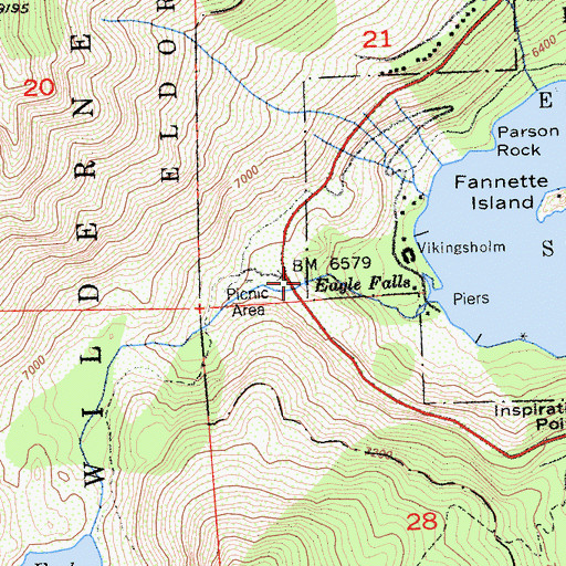 Topographic Map of Eagle Falls, CA