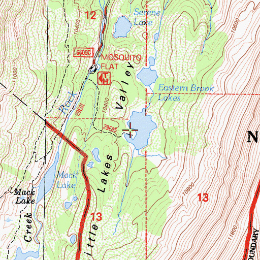 Topographic Map of Eastern Brook Lakes, CA