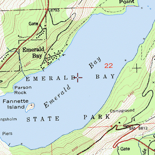 Topographic Map of Emerald Bay, CA