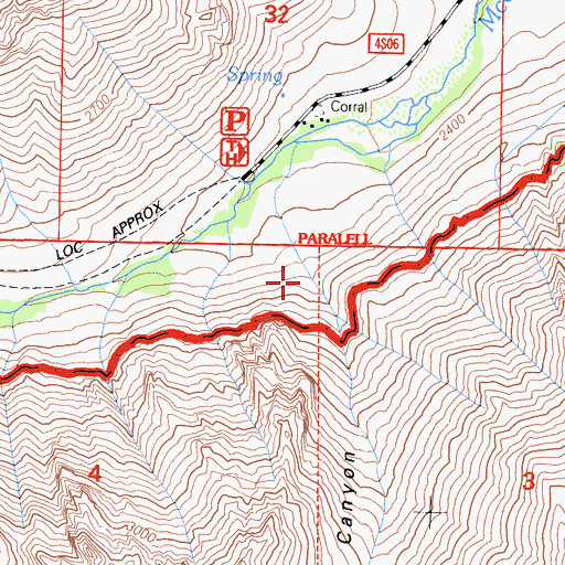 Topographic Map of Esha Canyon, CA