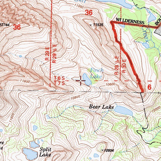 Topographic Map of Finch Lake, CA