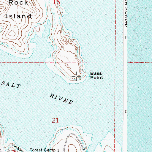 Topographic Map of Bass Point, AZ