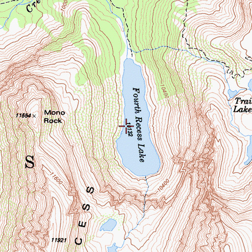 Topographic Map of Fourth Recess Lake, CA