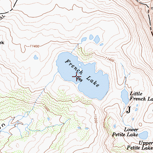 Topographic Map of French Lake, CA
