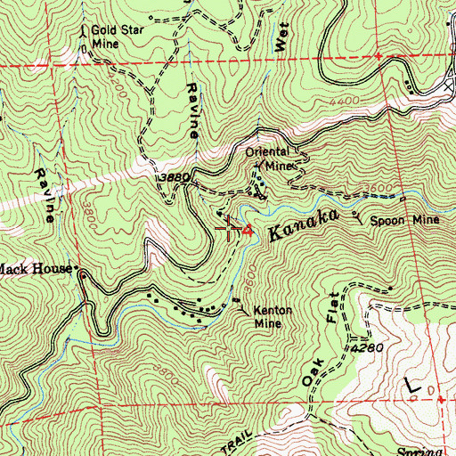 Topographic Map of French Ravine, CA