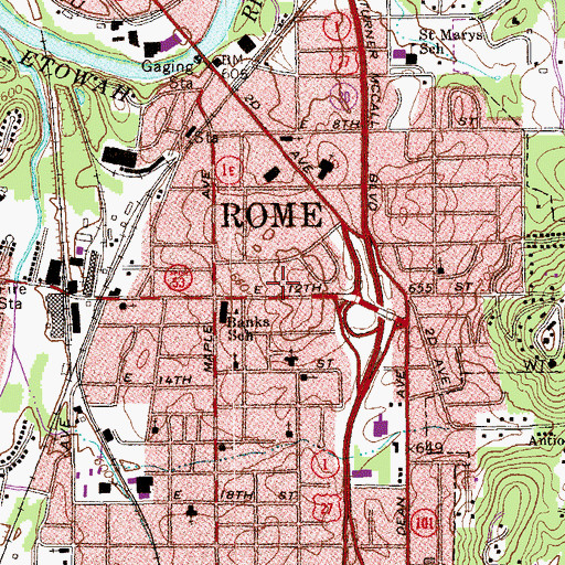 Topographic Map of Rome - Floyd County Fire Department Station 3, GA