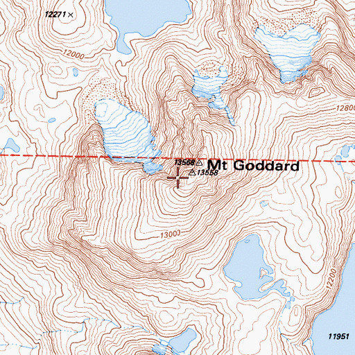 Topographic Map of Goddard Divide, CA