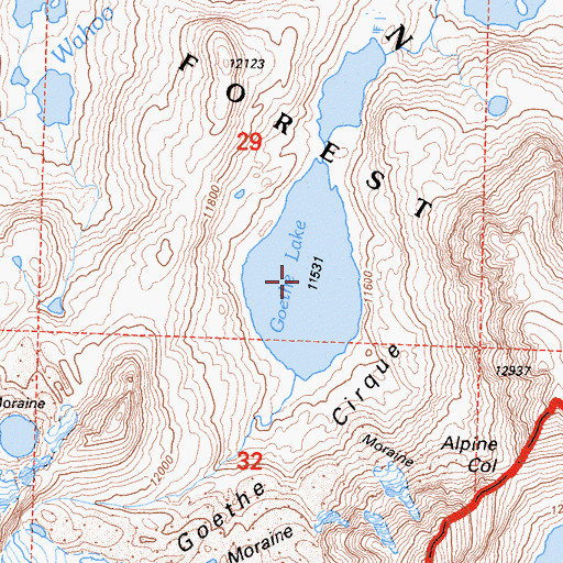 Topographic Map of Goethe Lake, CA