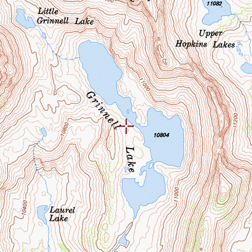 Topographic Map of Grinnell Lake, CA
