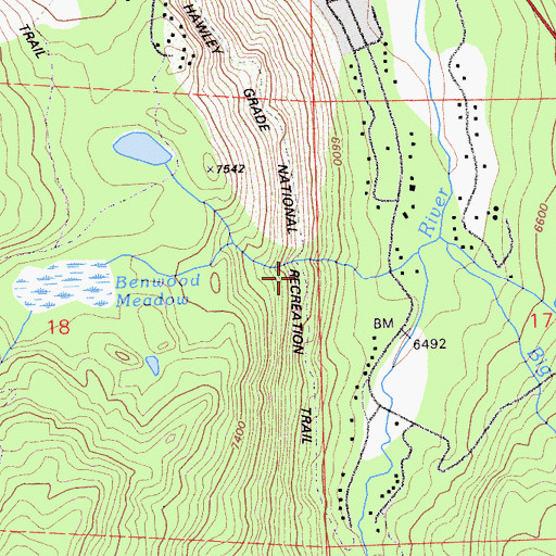 Topographic Map of Hawley Grade Trail, CA