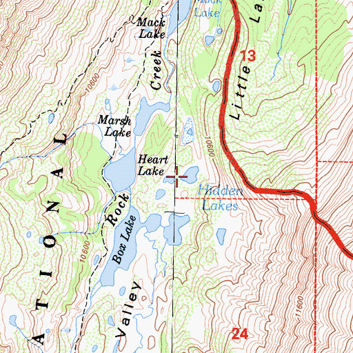 Topographic Map of Hidden Lakes, CA