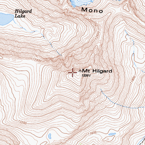 Topographic Map of Mount Hilgard, CA