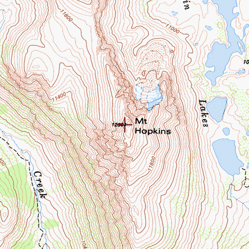 Topographic Map of Mount Hopkins, CA