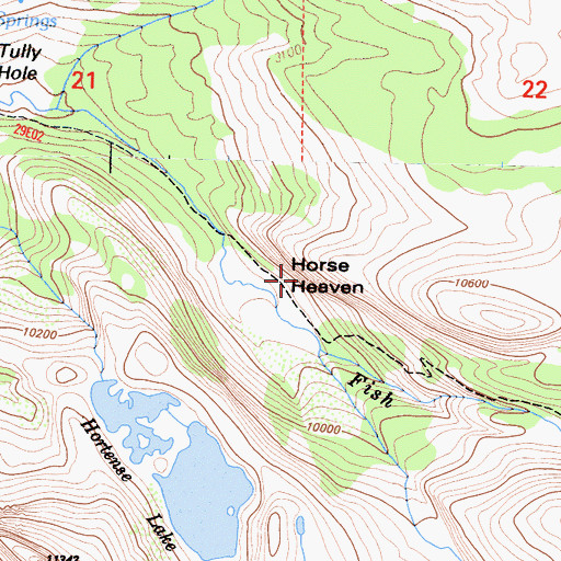 Topographic Map of Horse Heaven, CA
