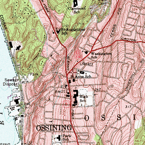 Topographic Map of Ossining Town Hall, NY