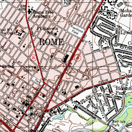 Topographic Map of Rome Post Office, NY