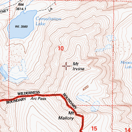 Topographic Map of Mount Irvine, CA