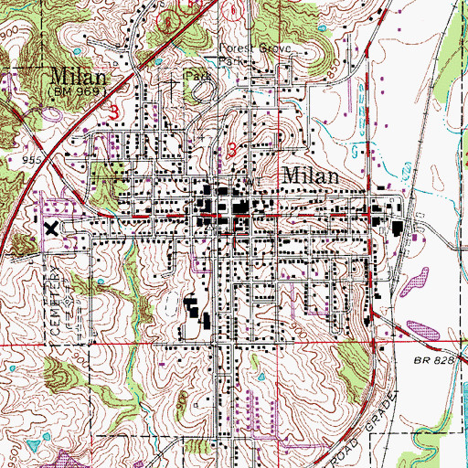 Topographic Map of Milan Fire Department, MO