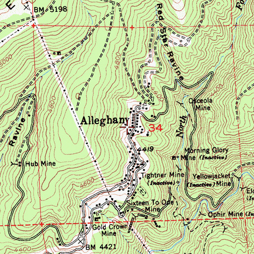Topographic Map of Alleghany Volunteer Fire Department, CA