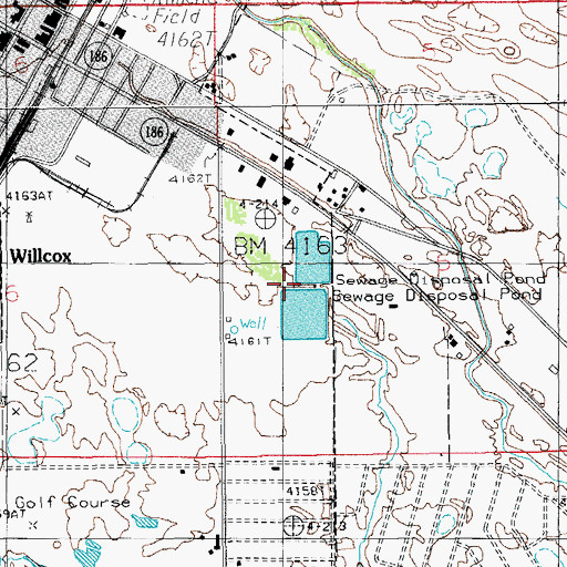 Topographic Map of City of Willcox Wastewater Treatment Facility, AZ