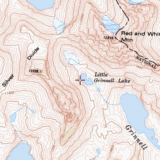 Topographic Map of Little Grinnell Lake, CA