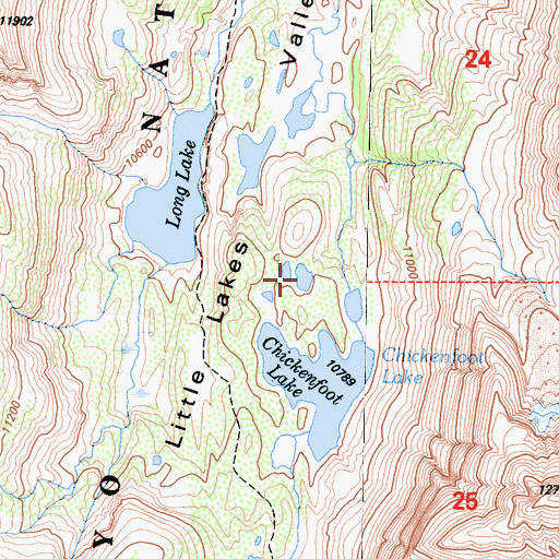 Topographic Map of Little Lakes, CA