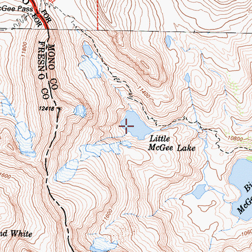 Topographic Map of Little McGee Lake, CA