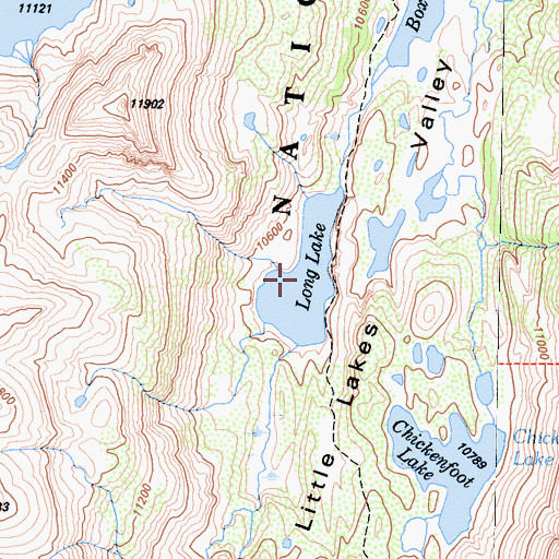 Topographic Map of Long Lake, CA