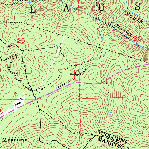 Topographic Map of Lost Claim Camp Ground, CA