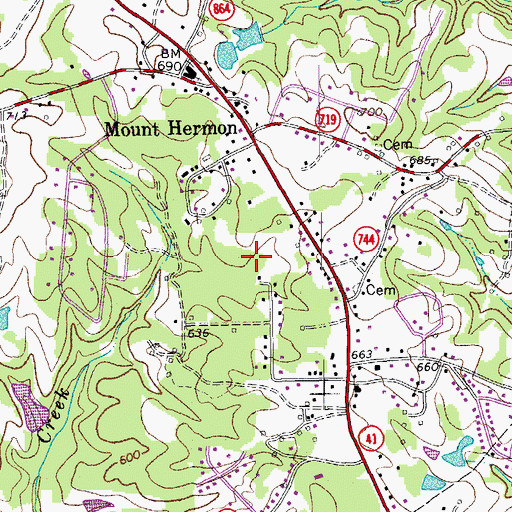 Topographic Map of Mount Hermon Census Designated Place, VA