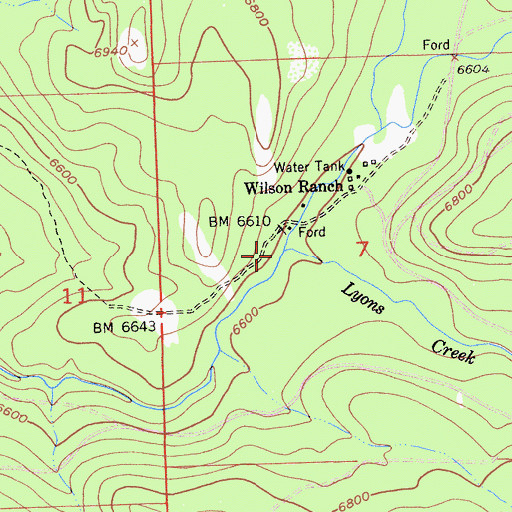Topographic Map of Lyons Creek, CA