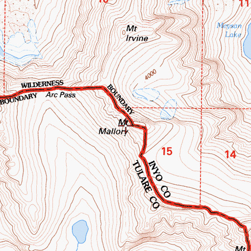 Topographic Map of Mount Mallory, CA