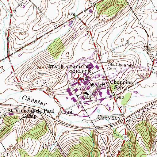 Topographic Map of Cheyney University Census Designated Place, PA