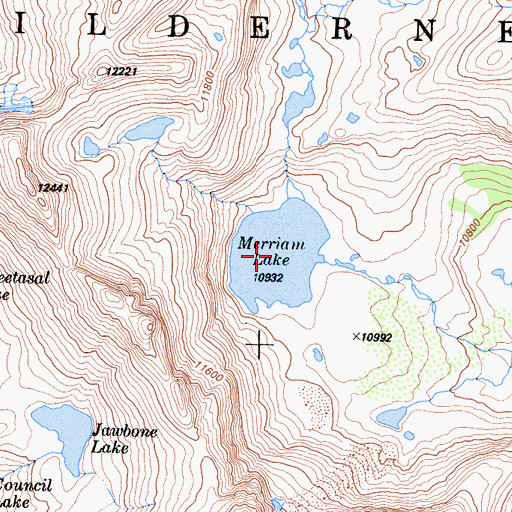 Topographic Map of Merriam Lake, CA