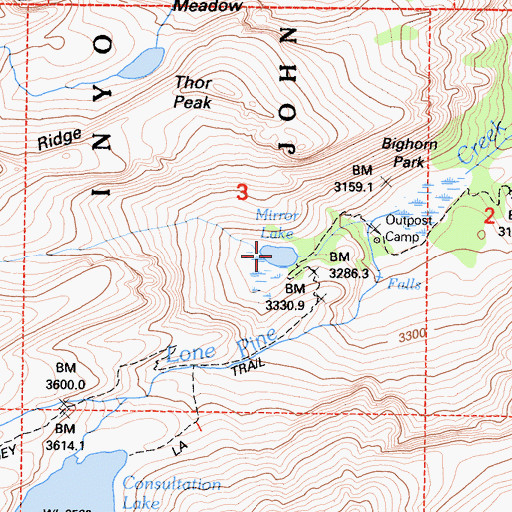 Topographic Map of Mirror Lake, CA