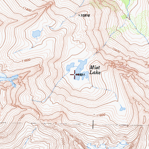 Topographic Map of Mist Lake, CA