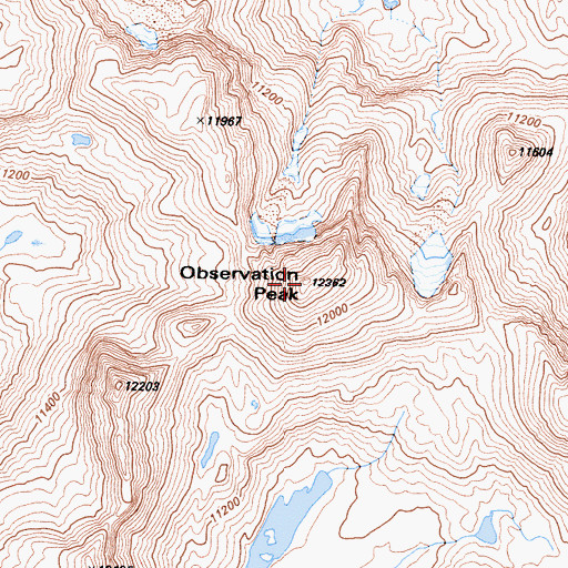 Topographic Map of Observation Peak, CA