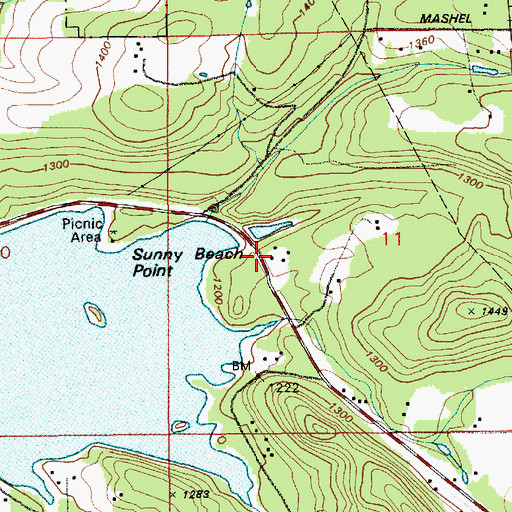 Topographic Map of Pierce County Fire District 23 Station 3, WA