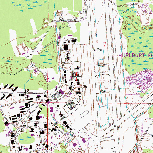 Topographic Map of Eglin Air Force Base Fire Station Hurlburt Field, FL