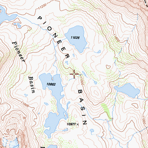 Topographic Map of Pioneer Basin, CA