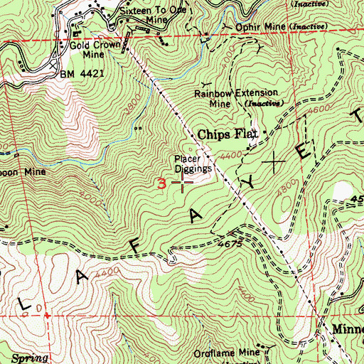 Topographic Map of Placer Diggings, CA