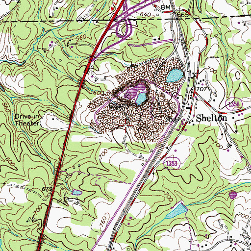 Topographic Map of Shelton Quarry, NC