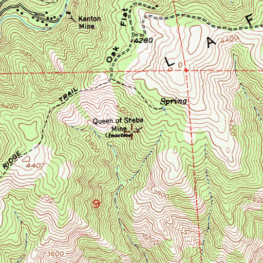 Topographic Map of Queen of Sheba Mine, CA