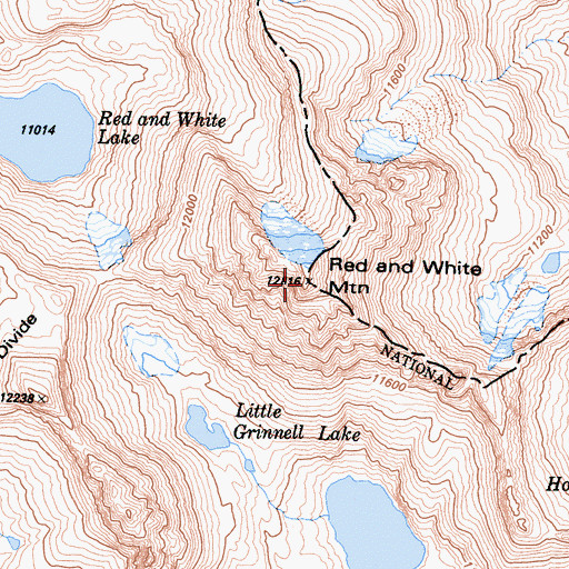 Topographic Map of Red and White Mountain, CA