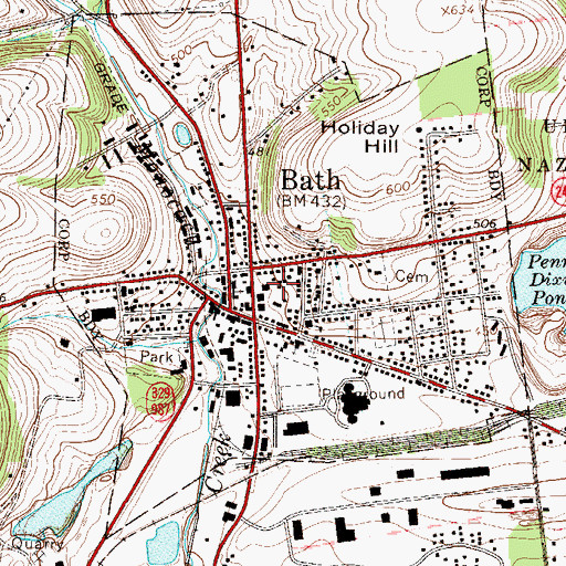 Topographic Map of Bath Fire Department / Bath Ambulance Corps, PA