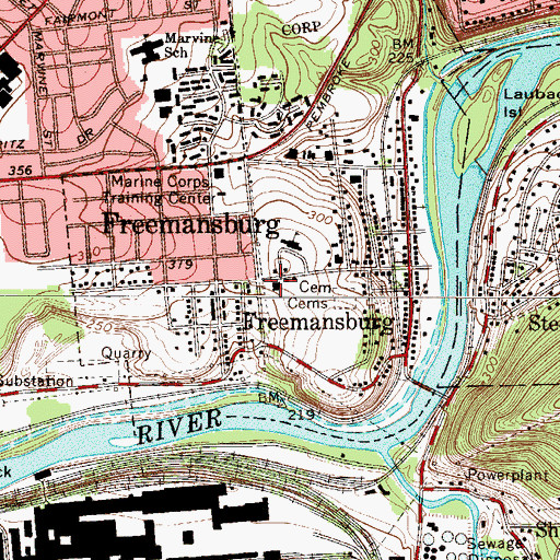 Topographic Map of Freemansburg Volunteer Fire Company 1 Station 12, PA