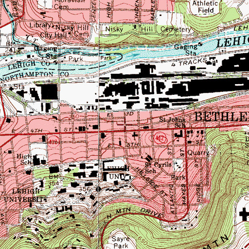 Topographic Map of Bethlehem City Fire Department Schweder Station, PA